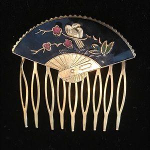 Cloisonné Enameled Brass Fan Comb